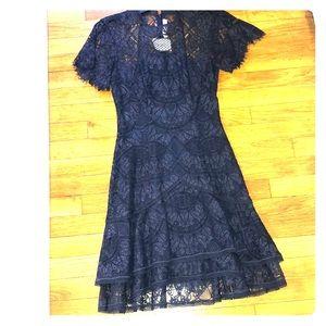 Jonathan Simkhai short sleeve navy lace dress
